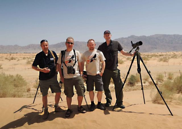 Birdwatch-BirdGuides Roadrunners 2014. Left to right: Mike Alibone, Dominic Mitchell, Morten Bentzon Hansen, Ian Lycett.