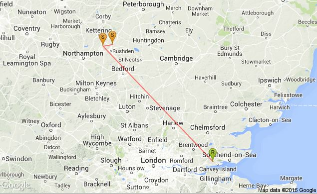 Recovery Map for adult Glaucous Gull GV15782, Ring No. G1NT