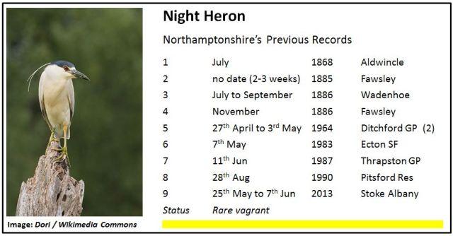 Night Heron Northamptonshire Records